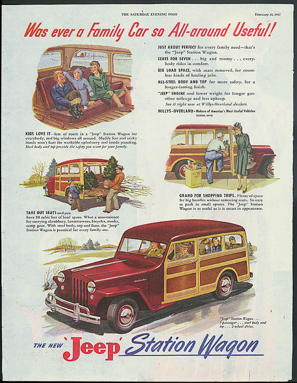 Was there ever a Family Car to All-around useful! Jeep Station Wagon ad 1947