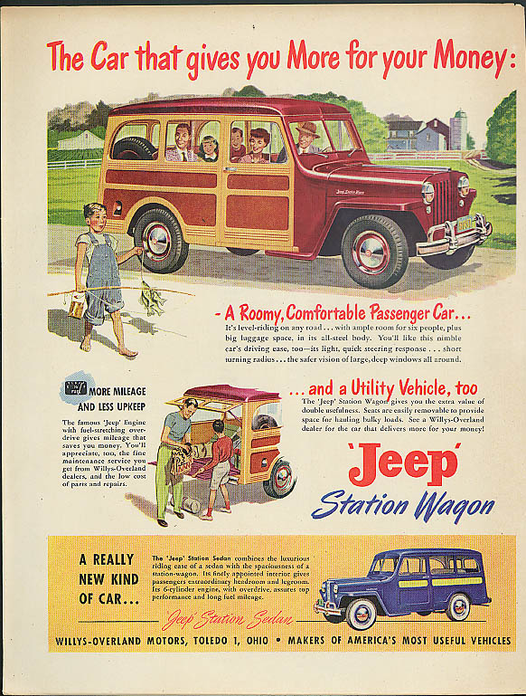 Image for The Car that gives you More for your Money: Jeep Station Wagon & Sedan ad 1949