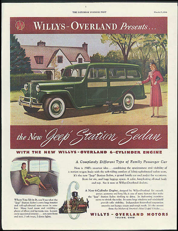 Image for Willys-Overland presents the Jeep Station Sedan ad 1948