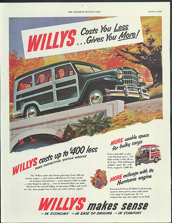 Willys Jeep Station Wagon Costs You Less - Gives You More ad 1951