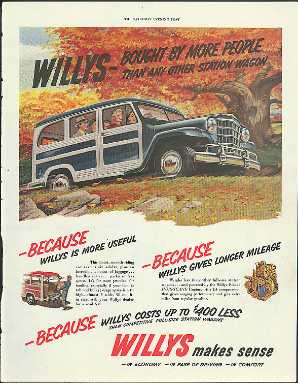 Willys Jeep Station Wagon bought by more people than any other wagon ad 1951