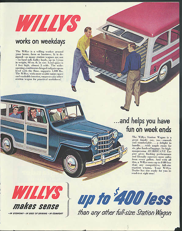 Image for Works on weekdays helps have fun on weekends Willys Jeep Station Wagon ad 1951