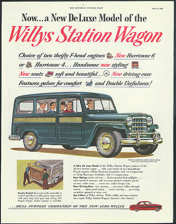Image for Now a New De Luxe Model of the Willys Jeep Station Wagon ad 1952