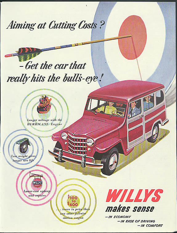 Image for Aiming at Cutting Costs? Willys Jeep Station Wagon ad 1951