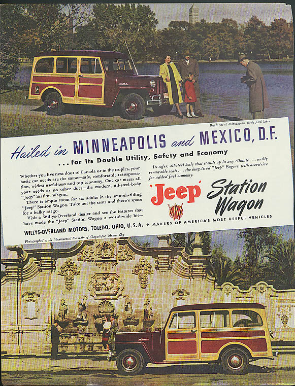 Image for Hailed in Minneapolis & Mexico City Jeep Station Wagon ad 1948
