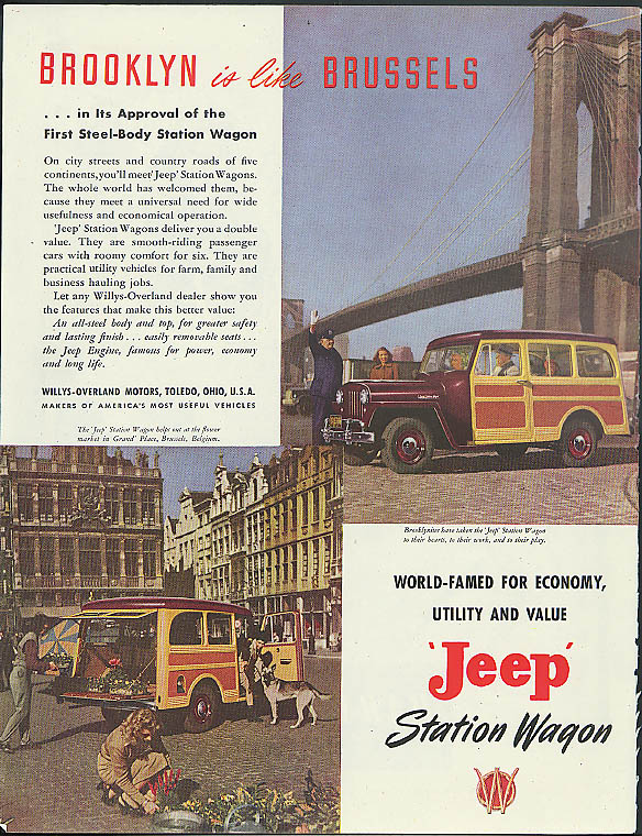 Image for Brooklyn is like Brussels in its approval Jeep Station Wagon ad 1948