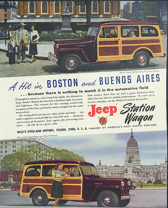 A Hot in Boston & Buenos Aires Jeep Station Wagon ad 1948