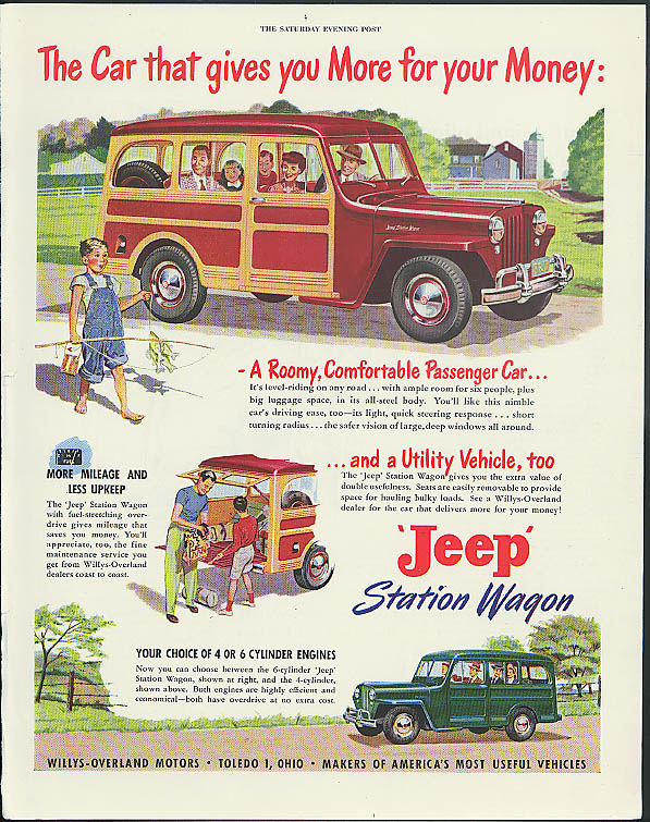 The Car that gives you More for your Money: Jeep Station Wagon ad 1949