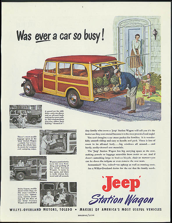 Was ever a car so busy? Jeep Station Wagon ad 1949