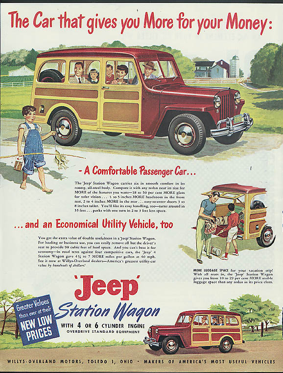 Image for The Car that gives you More for your Money: Jeep Station Wagon 4 or 6 ad 1949