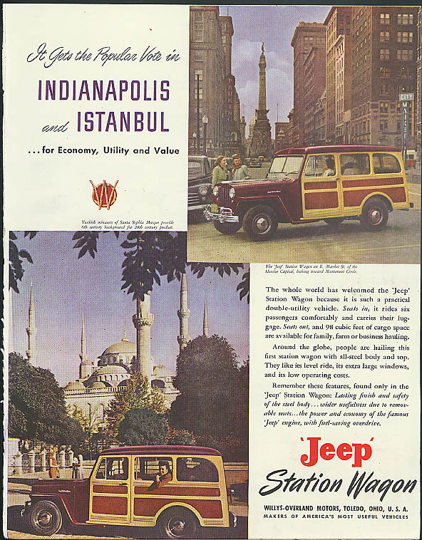Image for Gets the Popular Vote in Indianapolis & Istanbul Jeep Station Wagon ad 1948