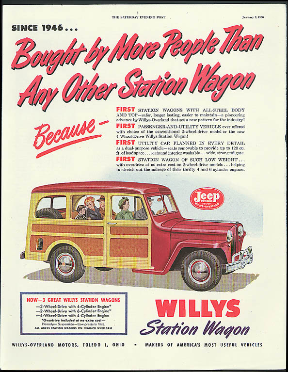 Bought by More People Than Any Other Willys Jeep Station Wagon ad 1950