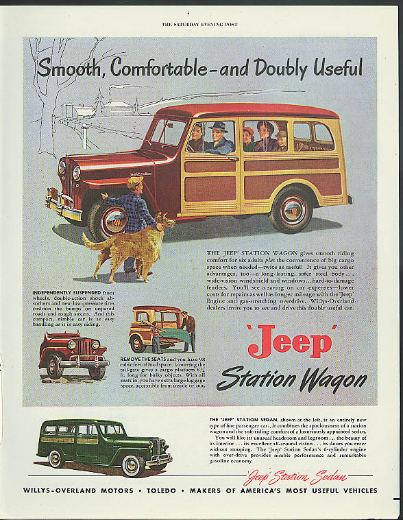 Smooth Comfortable and Doubly Useful Jeep Station Wagon & Sedan ad 1949