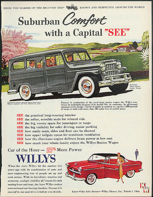 Suburban Comfort with Capital SEE Willys Jeep Station Wagon Aero Willys ad 1954