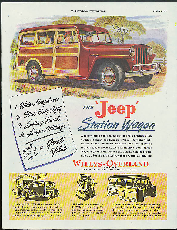 Image for Wider Usefulness - The Jeep Station Wagon ad 1947