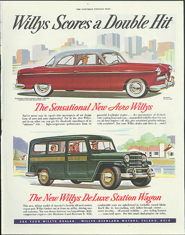 Image for Scores a Double Hit Aero Willys & Jeep Station Wagon ad 1952