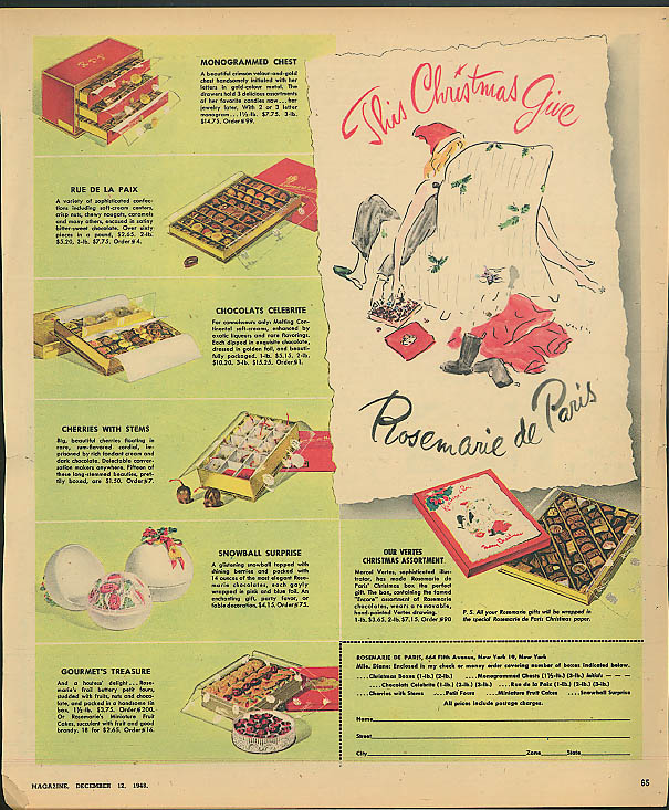 This Christmas Give Rosemarie de Paris chocolates ad 1948 Vertes art