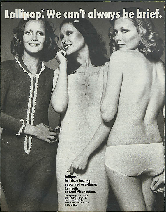 Lollipop. We can't always be brief panties ad 1972