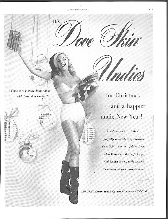 Dove Skin Undies for Christmas panties ad 1956