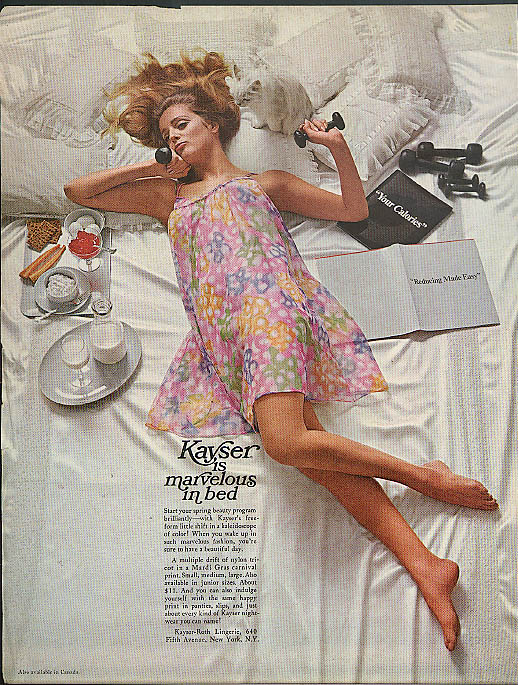 Kayser is marvelous in bed ad 1967 Mardi Gras free-form shift nightie