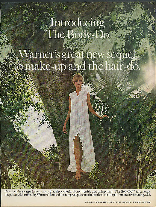 Introducing the Body-Do Warner's cutaway sleep shift nightie ad 1967