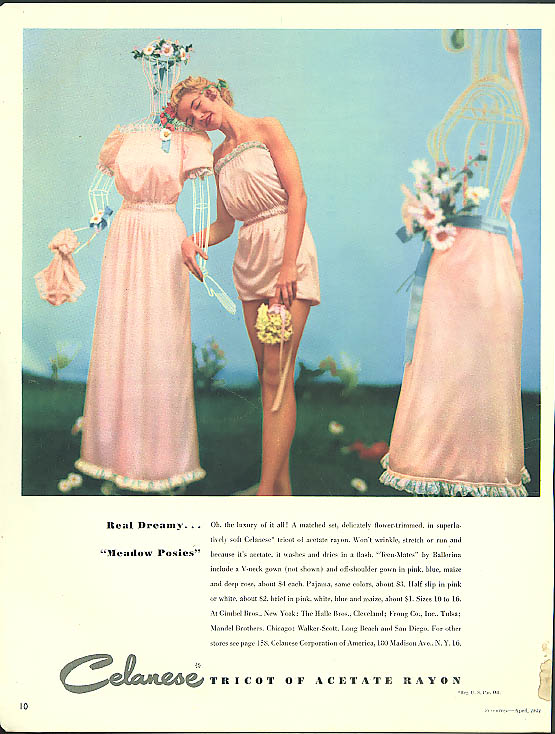 Real Dreamy Meadow Posies Ballerina Teen-Mates nighties ad 1951