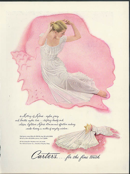 A Mating of Nylons Carter's nightie nightgown ad 1949
