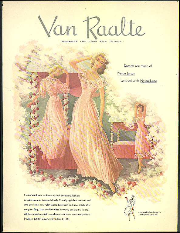 Val Raalte Dreams are made of Nylon Jersey & Lace nightgown nightie ad 1949