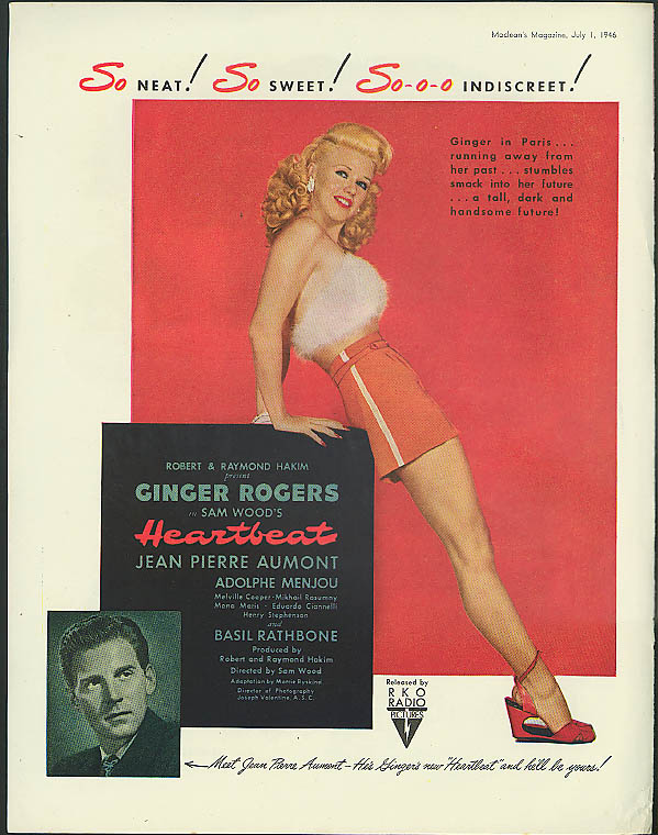 So Neat! Ginger Rogers Heartbeat / Canadian Pacific RR Fast Freight ad 1946