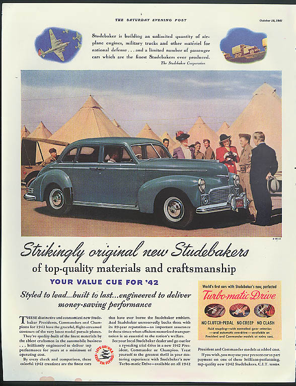 Strikingly original new Studebaker ad 1942 Saturday Evening Post