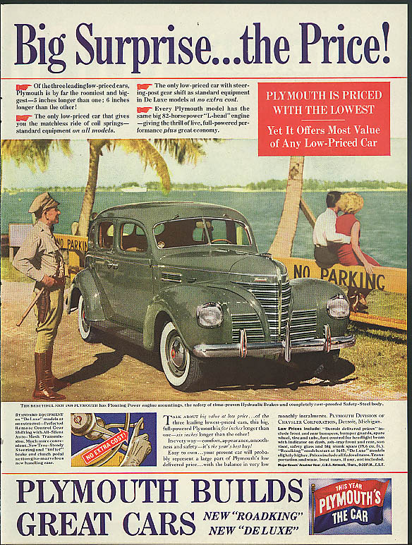 Image for Big Surprise - the Price! Plymouth ad 1939 cop sees car in No Parking zone