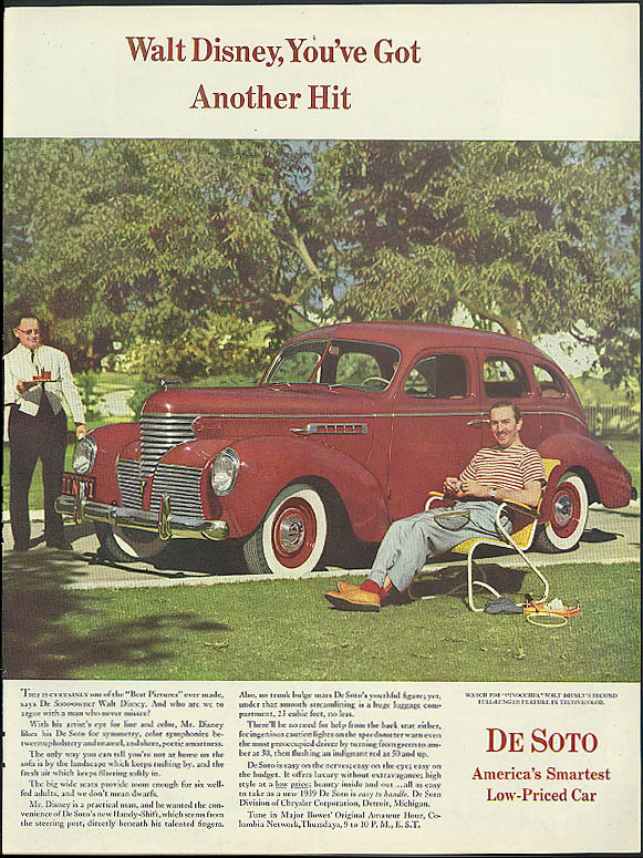 Walt Disney You've Got Another Hit! De Soto 4-door Sedan ad 1939