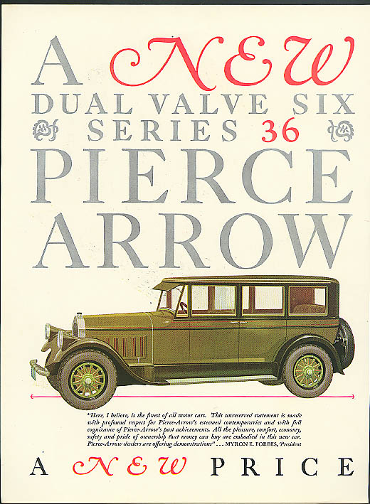 A new Dual Valve Six Series 36 Pierce-Arrow ad 1927 olive car