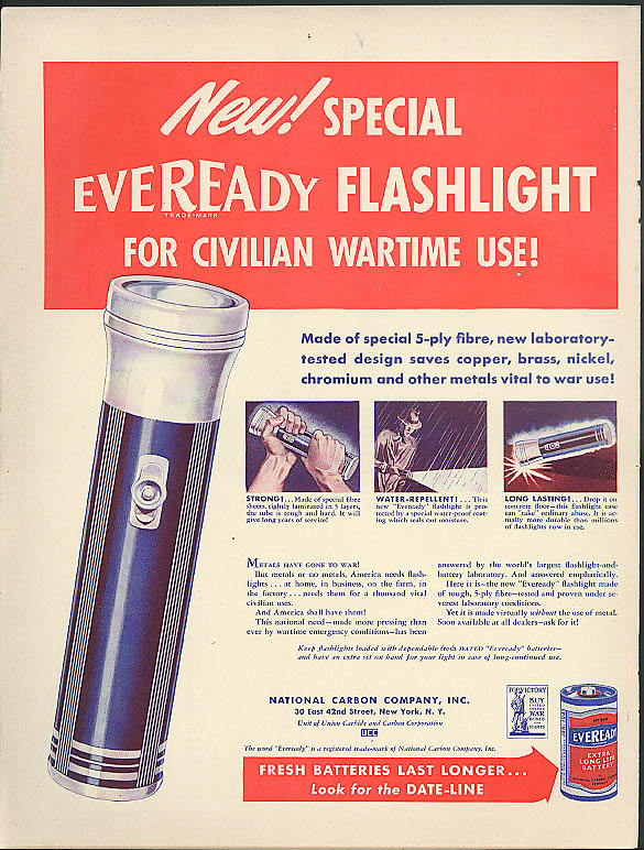 New! Special Eveready Flashlight for civilian wartime use! Ad 1942