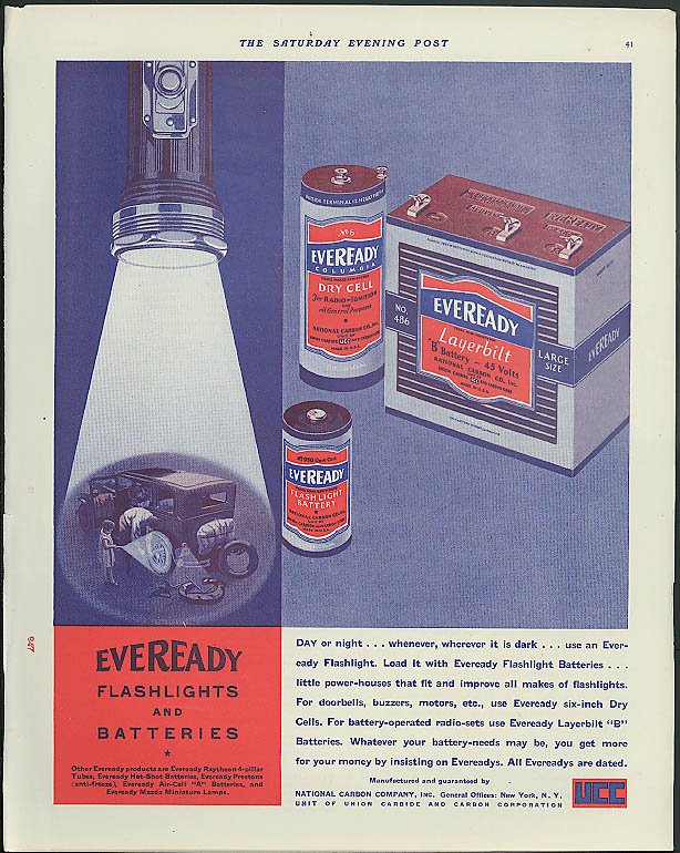 Day or night whenever wherever it is dark Eveready Flashlight Battery ad 1931