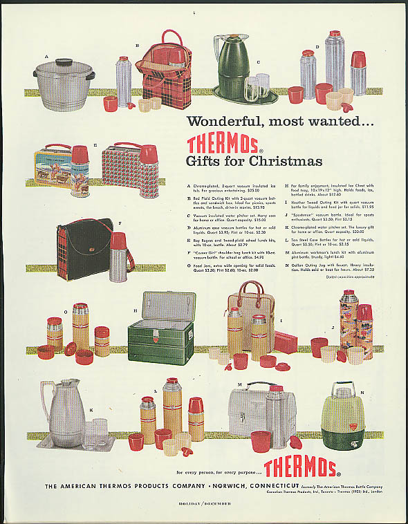 Wonderful most wanted Thermos gifts for Christmas ad 1956 Roy Rogers lunch box +