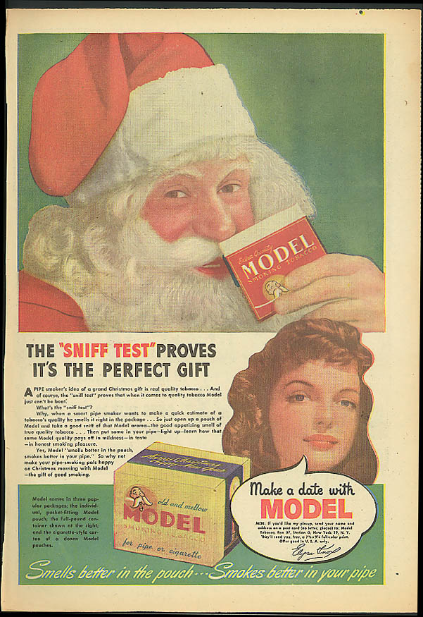 The Sniff Test Proves it's Perfect Model Pipe Tobacco ad 1944 Elyse Knox