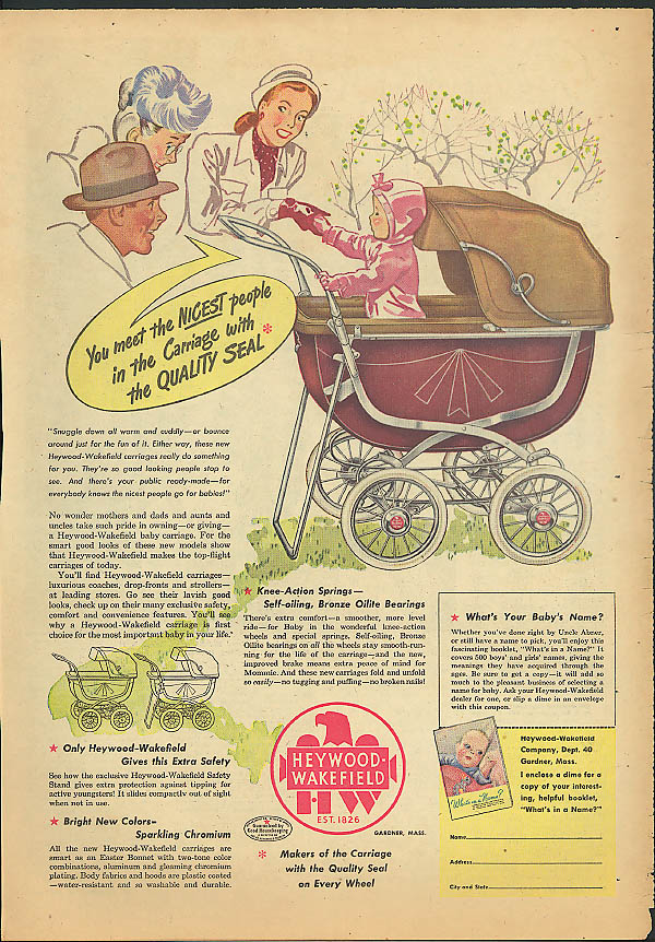 You meet the nicest people in a Heywood-Wakefield Baby Carriage ad 1947