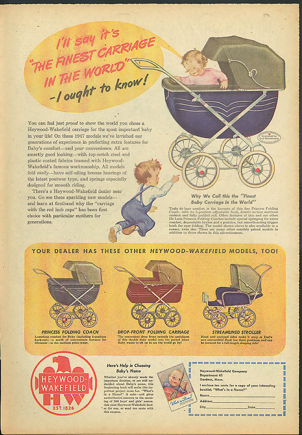 The finest carriage in the world Heywood-Wakefield Baby Carriage ad 1947