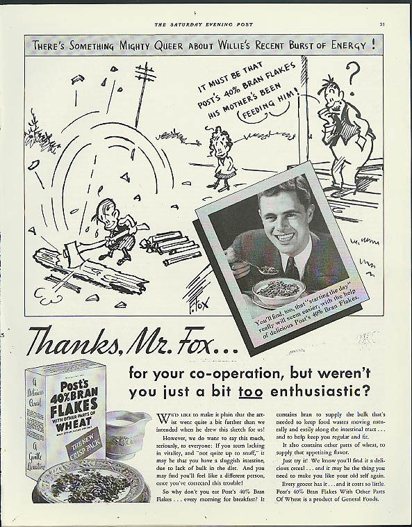 Cartoonist Fontaine Fox for Post 40% Bran Flakes ad 1934
