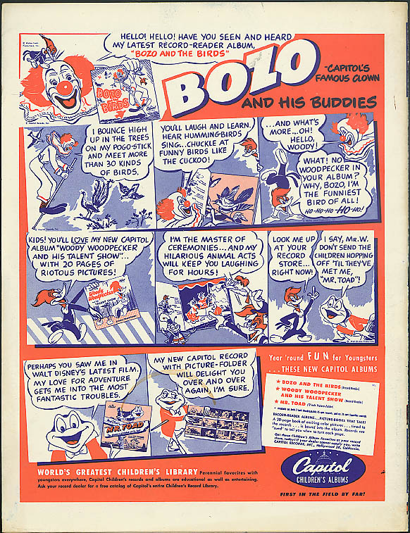Bozo the Clown & His Buddies Capitol Records ad 1950 Woody Woodpecker Mr Toad