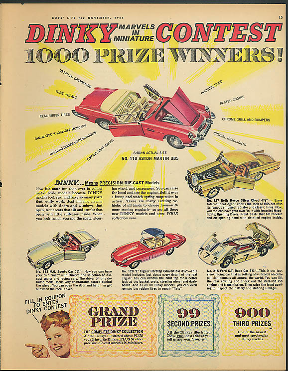 Dinky Marvels in Miniature Contest ad 1965 Ford GT XK-E Jaguar MG Rolls-Royce