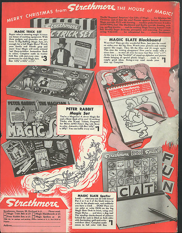 Strathmore House of Magic ad 1949 Magic Trick Peter Rabbit Magic Slate Speller
