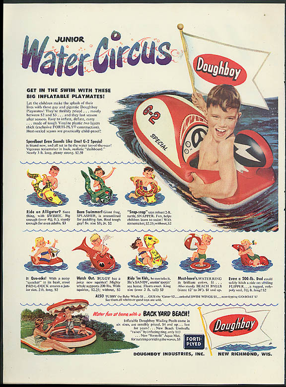 Doughboy Junior Water Circus inflatable toy ad 1952G-2 Speedboat Bulgy Whale +