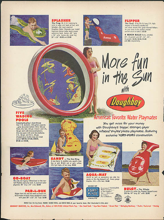 More fun in the Sun Doughboy Inflatable Toy ad 1951 Flipper Bulgy Whale +