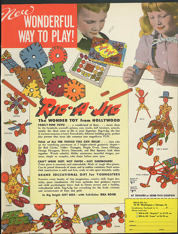 Rig-a-Jig Wonder Toy from Hollywood Wonderful Way to Play ad 1948
