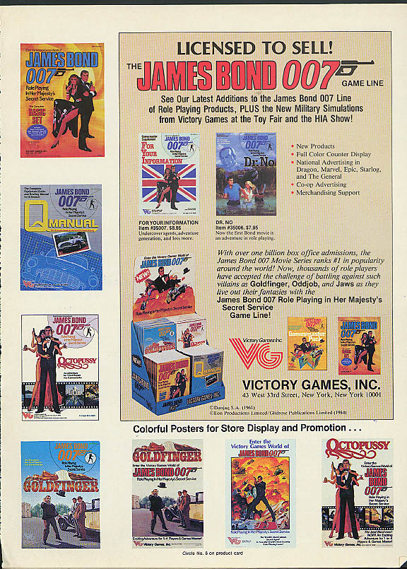 James Bond 007 Game Line Licensed to Sell! Victory Games ad 1984 Dr No +