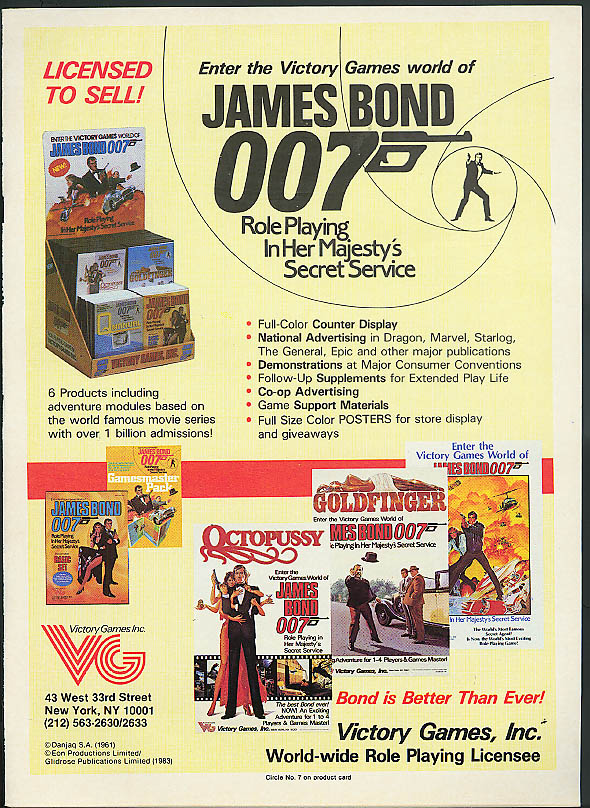 James Bond 007 In Her Majesty's Secret Service Victory Games ad 1983