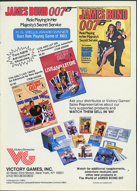 James Bond 007 Game Line Victory Games ad 1984 Live & Let Die +
