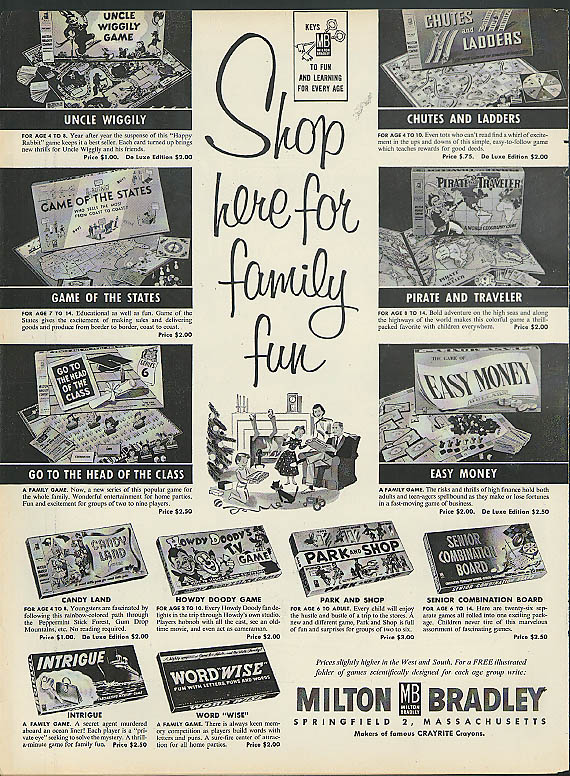 Milton Bradley Game ad 1950s Howdy Doody Uncle Wiggily Park & Shop Intrigue +